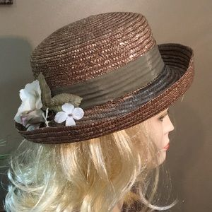Vintage Brown 100% straw Brim floral hat MINT!